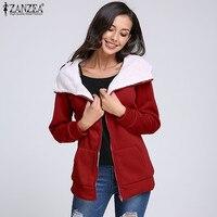 ZANZEA בתוספת גודל סווטשירט ברדס נשים מעילי צמר מעיל הלבשה עליונה שרוול ארוך מזדמן עבה נשי 2018 אביב החורף חמים
