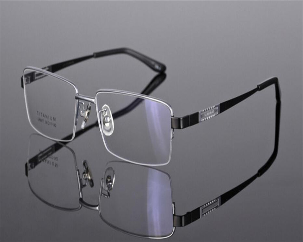 Men's Glasses 55-17-136 Brand Designer Fashion Men Half Rim Myopia Optical Eyeglasses Silver Blue Spectacle Goggle Eyewear Frame Zjh9065