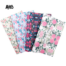 AHB Floral Printed Faux Leather Sheets Vintage Synthetic Leather DIY HairBows Handbag Garments Handmade Textile Decor Materials цена и фото