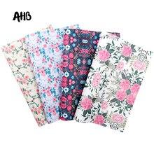 Hojas de cuero sintético de imitación con estampado Floral de AHB, lazos para el pelo de estilo Vintage, accesorios para bolso, materiales de decoración textiles hechos a mano