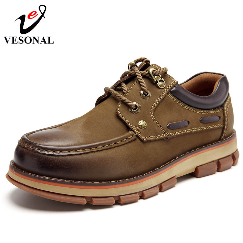 VESONAL Genuine Leather Casual Shoes For Men Sneakers Male Breathable Classic Safety Cargo Work Quality Walking