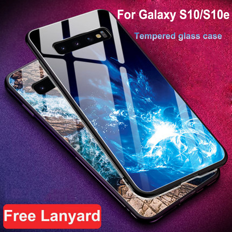 Tempered Glass Case For Samsung Galaxy S10 G9730 Cover Case Soft Silicone Frame Hard Cover For Galaxy S10e G9700 Cases shell image