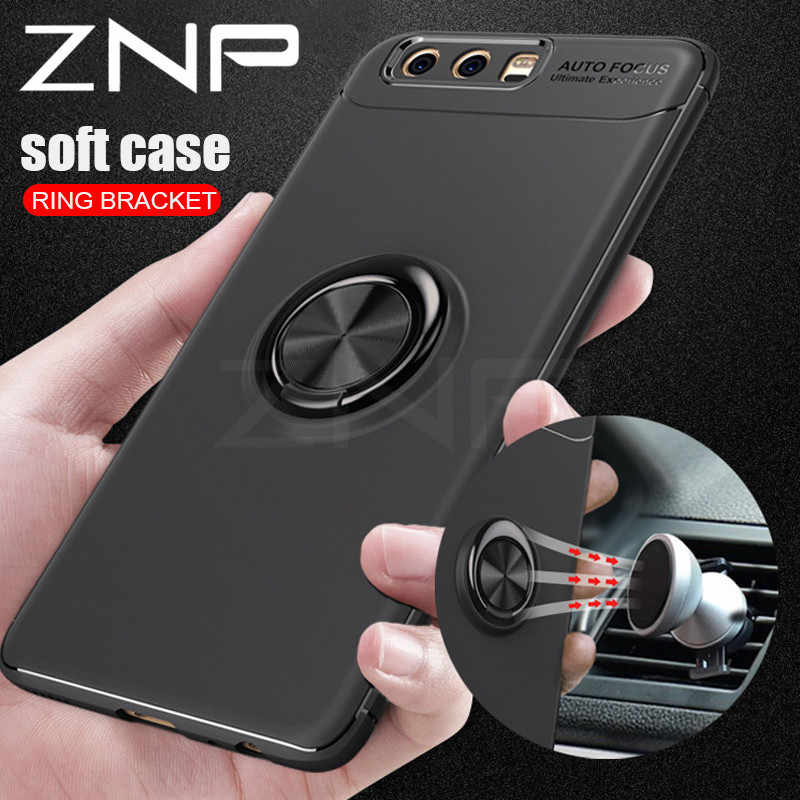 ZNP Luxury Car Bracket Ring Magnetic TPU Protective Case For Huawei P9 P10 Plus P9 Lite Cover For Huawei Honor 9 10 V9 V10 Lite