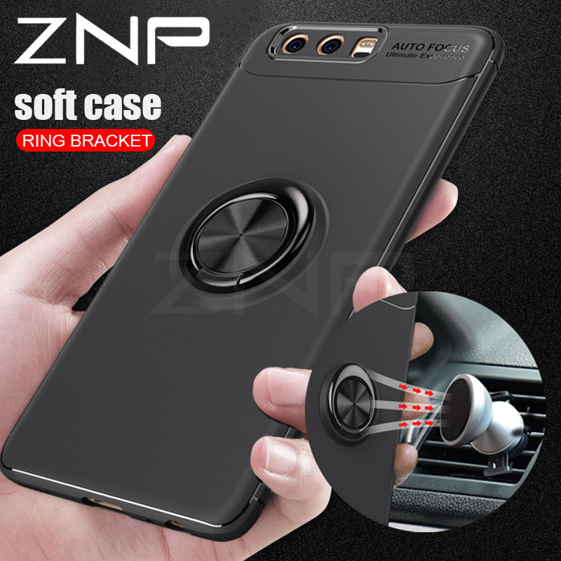 ZNP Luxury Car Bracket Ring Magnetic TPU Protective Case For Huawei P9 P10 Plus P9 Lite Cover For Huawei Honor 9 10 V9 V10 Lite image