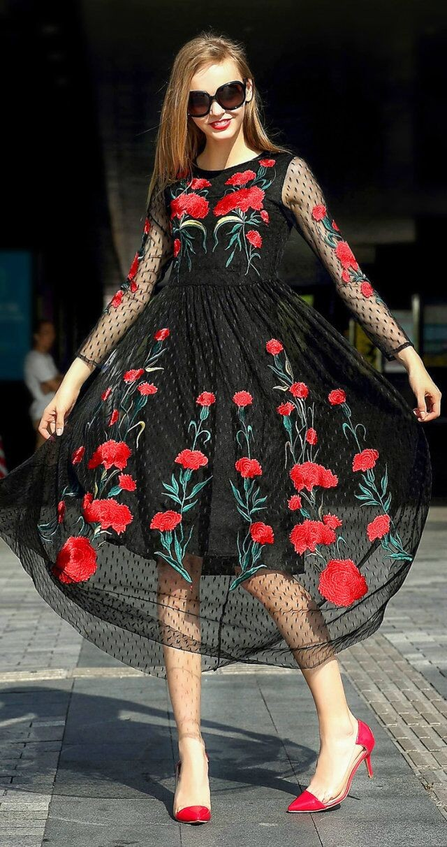 Long Sleeve Sexy Mesh Carnation Embroidery Slim Black Long Dress 2
