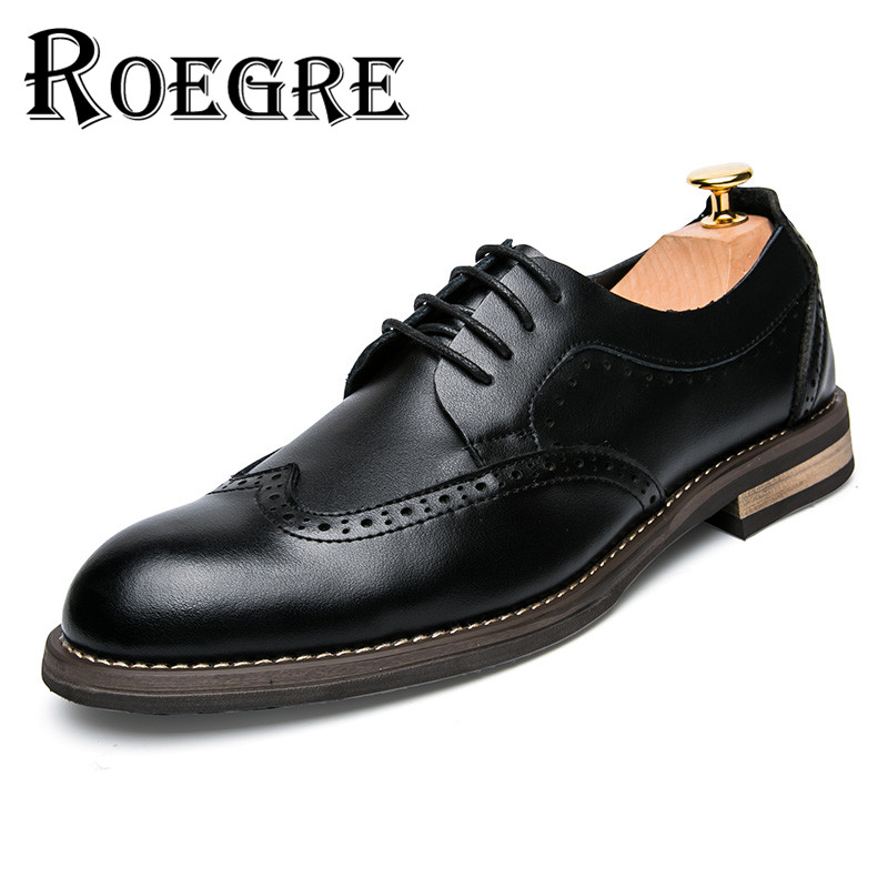 ROEGRE Fashion Designer Formal Mens Dress Brogue Shoes Genuine Leather Black Luxury Wedding Shoes Men Flats Office for Male fashion top brand italian designer mens wedding shoes men polish patent leather luxury dress shoes man flats for business 2016