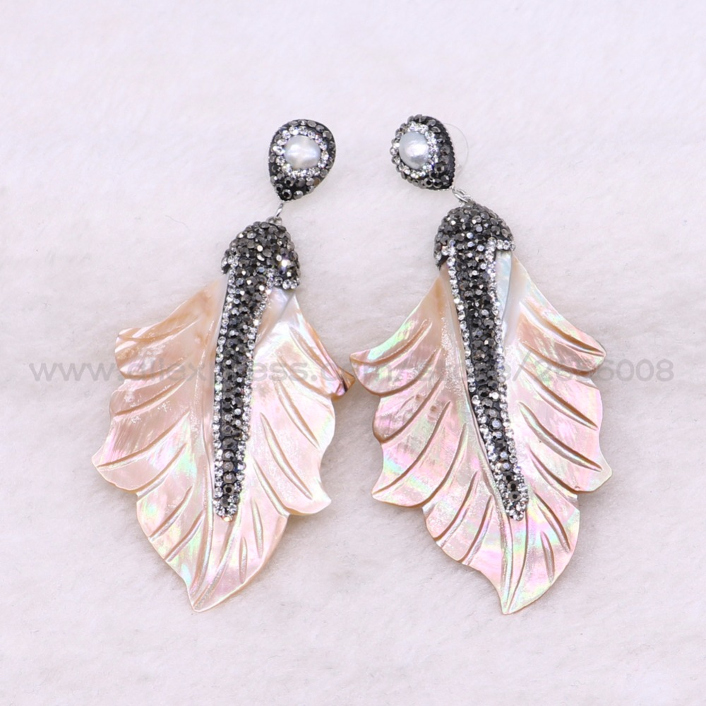 Fashion shell earrings leaf shape earrings Handmade jewelry earrings Gift for the lady natural shell  earrings 3392-in Drop Earrings from Jewelry & Accessories    1