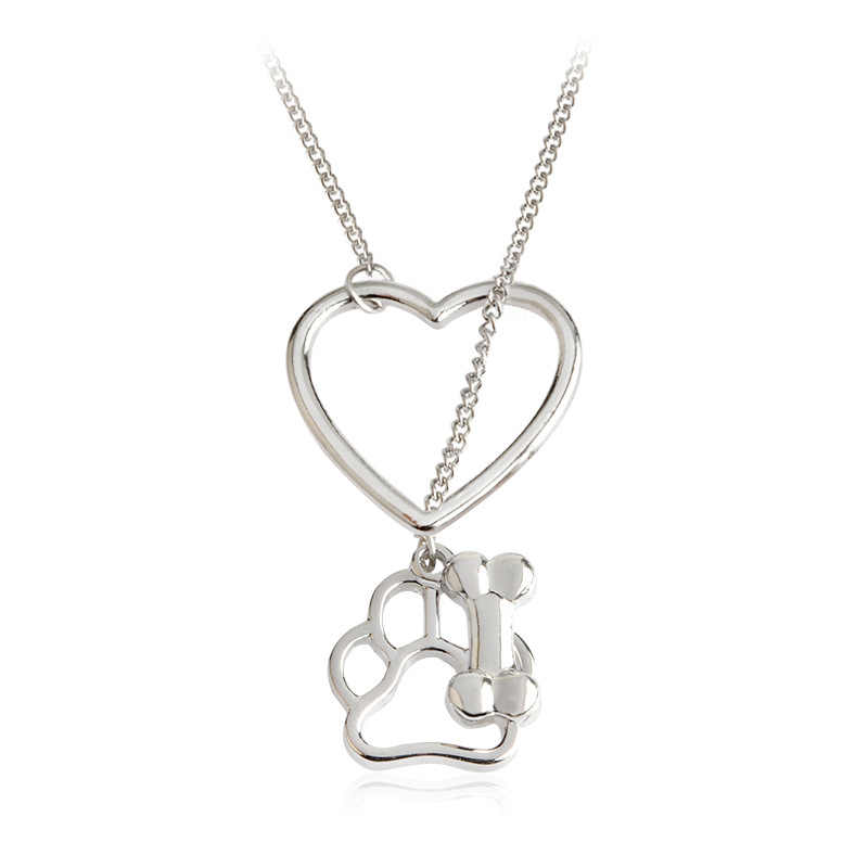 Jewelry Always in my Heart Dog Cat Foot Pet Paw Print Heart Pet Lover Pendant Necklace Animal Keepsake Charms