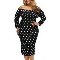 Plus Size Women Summer Dresses Fashion White Black Dot Ruffle Off Shoulder Long Sleeves Sheath Party