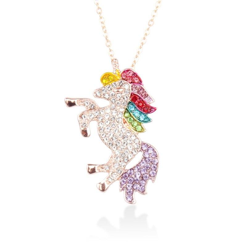 Милое ожерелье с единорогами, модные украшения в виде лошади из мультфильма, аксессуары для девочек, детские, женские вечерние браслеты с подвеской в виде животного - Окраска металла: Necklace Gold