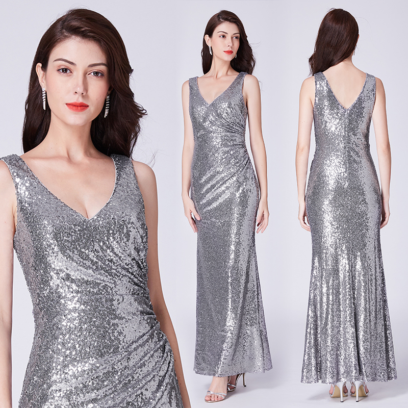 Formal Evening Dresses V Neck Ever Pretty EP07405 Long Silver Rose ...