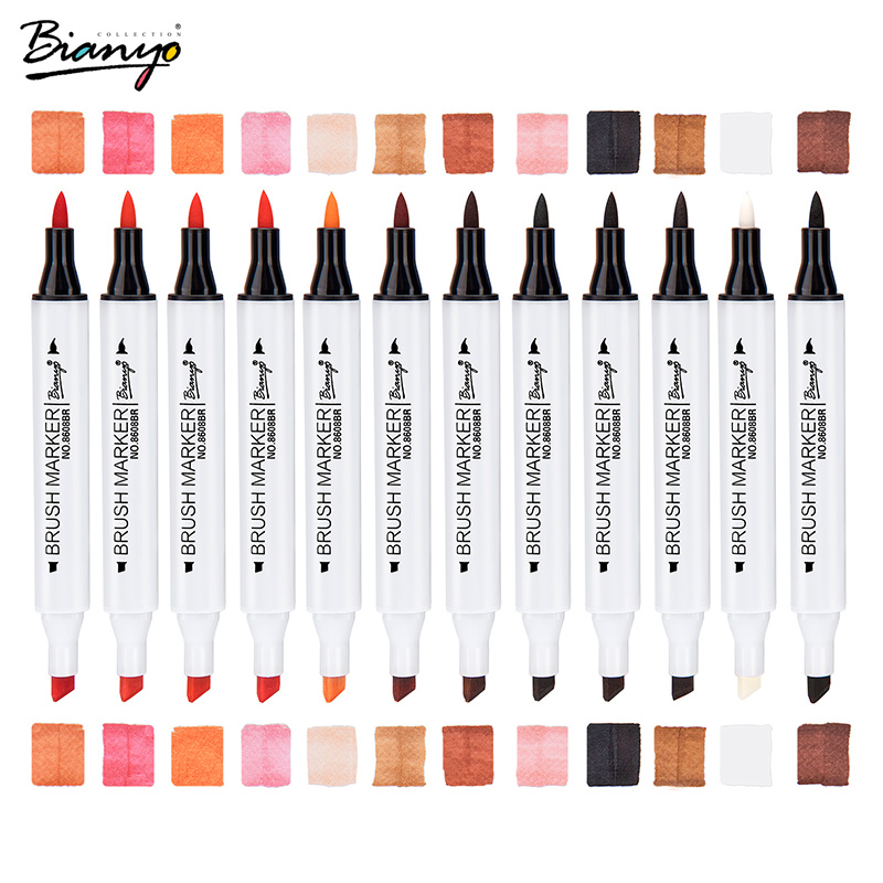 Bianyo Dual Tip Art Marker Pen Soft & Broad Tip 12 Colors Marker Set for Drawing Water Color Markers Pen Painting for artist w110145 soft head fine water mark pen 48 60 color beginners painting professional equipment advanced ink student art suit