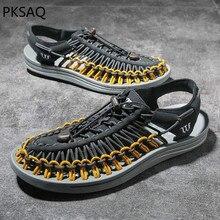 Summer Sandal Mens Soft Bottom Casual Hand Weaving Slippers Beach Shoes Gladiator Fashion Men Sandals