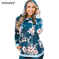 Women Printed Floral Hoodies 2017 Autumn Winter Female Long Sleeve Casual Gray Hoddie Sweatshirt Ladies Sweet
