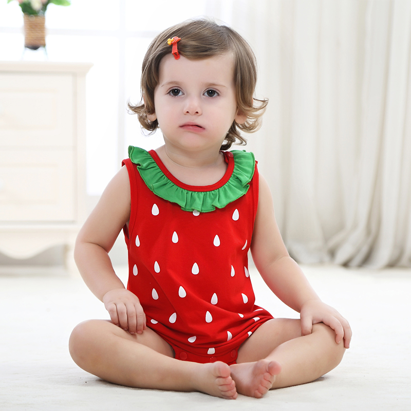 2016 Summer 2 Style Children Clothing Sets Strawberry Triangle Rompers Casual Jumpsuits For Boys Girls Baby Nice Home Wear