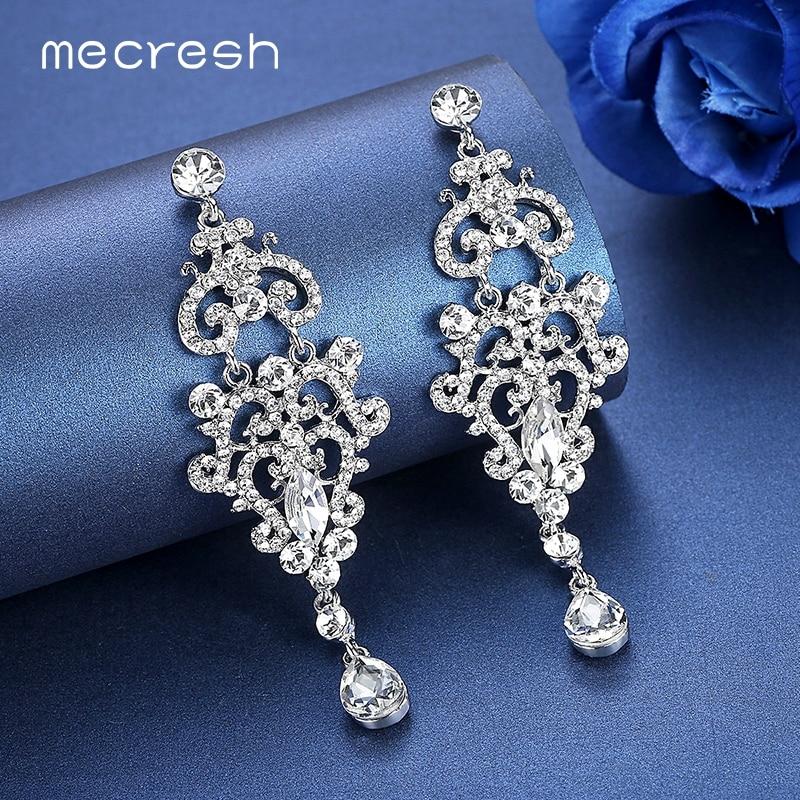 Mecresh Kristal Çilçıraq Uzun Sırğalar Gümüş Rəngli Rimeston - Moda zərgərlik - Fotoqrafiya 4