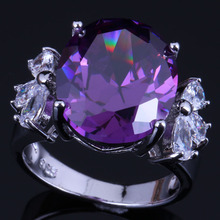 Delightful Oval Purple Cubic Zirconia White CZ 925 Sterling Silver Ring For Women V0612