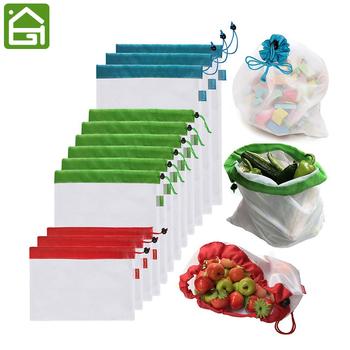 12 szt Siatka wielokrotnego użytku torby z siatki przyjazne dla środowiska zakupy spożywcze torby do przechowywania warzyw owocowych tanie i dobre opinie Składane Ekologiczne KHGDNOR 50 ml KİTCHEN JS207 Zestaw Płaska 100 poliestru Na rozmaitości Tkaniny SQUARE Torba kompresyjna