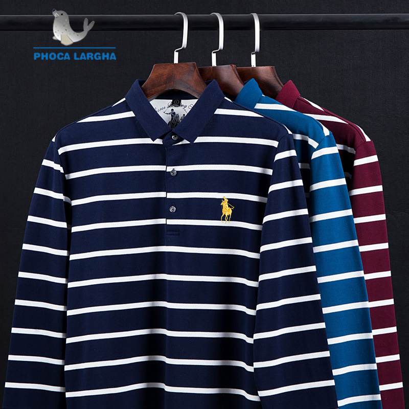 New Casual Men's Solid Striped Shirts Cotton 3D Embroidery Long sleeve   Polos   Mens Slim Fit Business Turn-down   Polo   Shirt Male