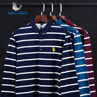 New Casual Men's Solid Striped Shirts Cotton 3D Embroidery Long sleeve Polos Mens Slim Fit Business Turn down Polo Shirt Male