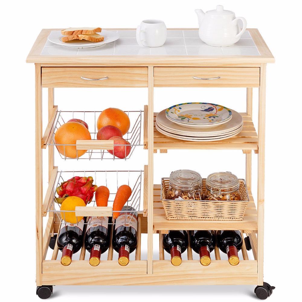 Goplus Rolling Wood Kitchen Trolley Cart Island Shelf w/ Storage Drawers Baskets New HW58491NA 3