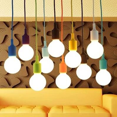ФОТО Colored silicone E27 lamp chandelier line Mediterranean Cafe tea shop decoration ceiling chandelier track