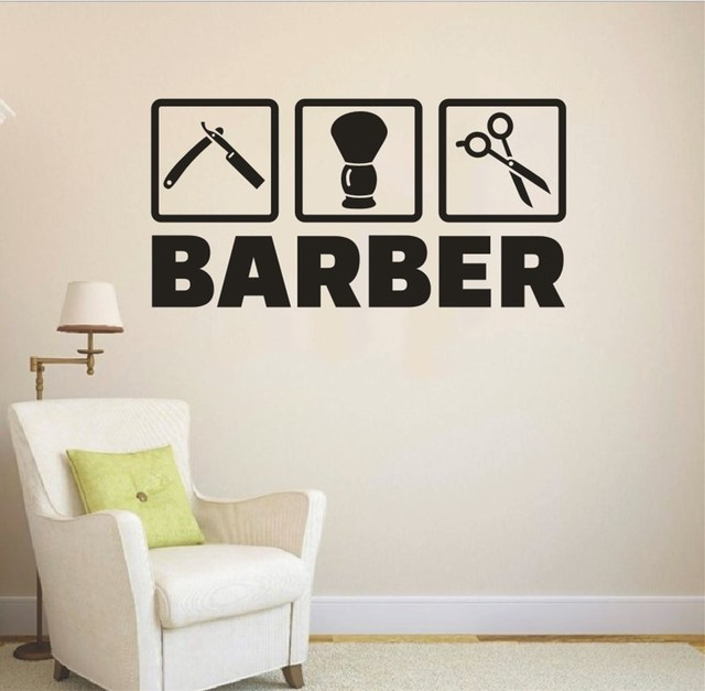 Removable barber shop stickers hair salon wall vinyl decals home interior art decoration mural quotes barber