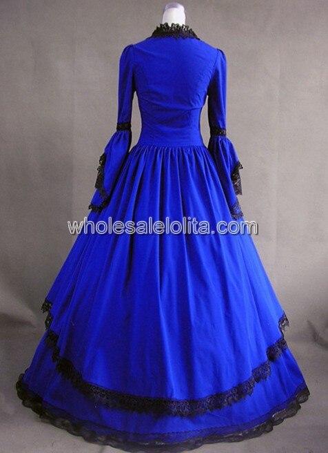 Королевское синее винтажное платье в викторианском стиле для продажи