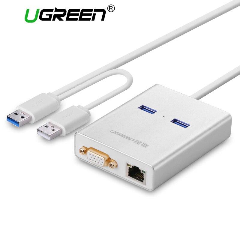 Ugreen USB 3.0 do VGA HDMI Wideo Wyświetlacz Karty Graficzne Kabel zewnętrzny Adapter Gigabit Ethernet 2 Porty Hub dla Windows 7/8/10