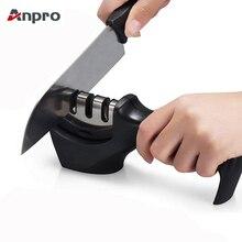 Anpro 1 шт., 3 ступени, профессиональная точилка для ножей, кухонный точильный камень, Вольфрамовая сталь и керамические кухонные ножи, аксессуары