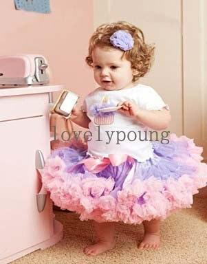 Юбка-пачка для девочек; юбка-американка; фиолетовый светильник+ розовая бахрома