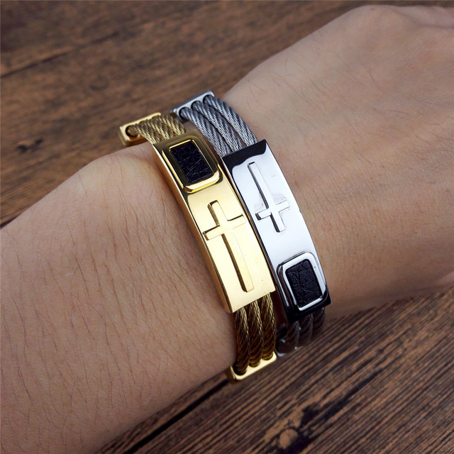 2017 New Gold/Silver Jesus Cross Bracelet Men Jewelry Stainless Steel 3 Rows Wire Chain Mens Leather Bracelets & Bangles