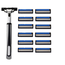 12 pcs/lot 3 Razor Blades+1 Holder 3 Blades Replacement Shaver Head Cassette Blue Shaving Razor Set Face Knife For Man