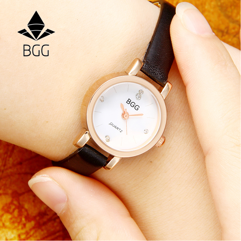 Rose Gold Small Dial Charm Ladies Wristwatches 2017 Luxury Women's Fashion Quartz Watch Women Retro Watches Black Famale Clock cute rose gold crystal flower thin strap small dial leather quartz women ladies wristwatches wrist watch gift