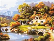 MaHuaf-W1080 las domek nad jeziorem kolorowanie według numerów new arrival wyjątkowy prezent cyfrowy obraz olejny tanie i dobre opinie Obrazy olejne Bezramowe lustra PŁÓTNO abstrakcyjne Pojedyncze Ręcznie malowane COTTON Akrylowe Krajobraz Rectangle
