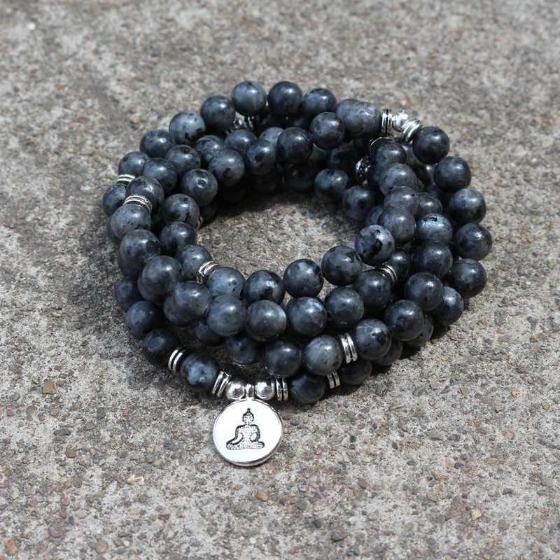 108 Labrador Lótus Buddha Charme Yoga Pulseira ou Colar de Jóias de Pedra Natural