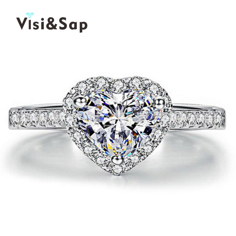 Visisap Heart Rings for women brilliant cubic zirconia wedding bands White gold color ring fashion jewelry