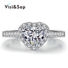 Visisap Heart Rings for women brilliant cubic zirconia wedding bands White gold color ring fashion jewelry VSRR003