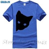 مطيع الأسود القط طبع الرجال عارضة قميص الذكور لطيف الكرتون الحيوان القمم المحملة الجدة الرجال تي شيرت