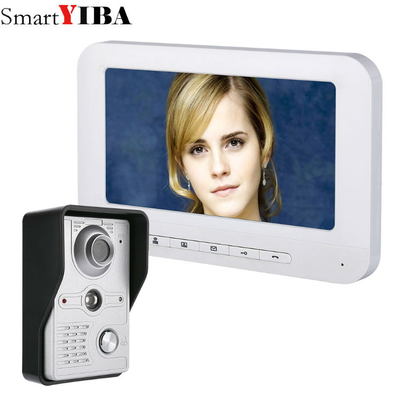 SmartYIBA Home Security Door Intercom 7''Inch Wired Video Door Phone System Visual Video Intercom Doorbell Monitor Camera Kit yobang security free ship 7 video doorbell camera video intercom system rainproof video door camera home security tft monitor