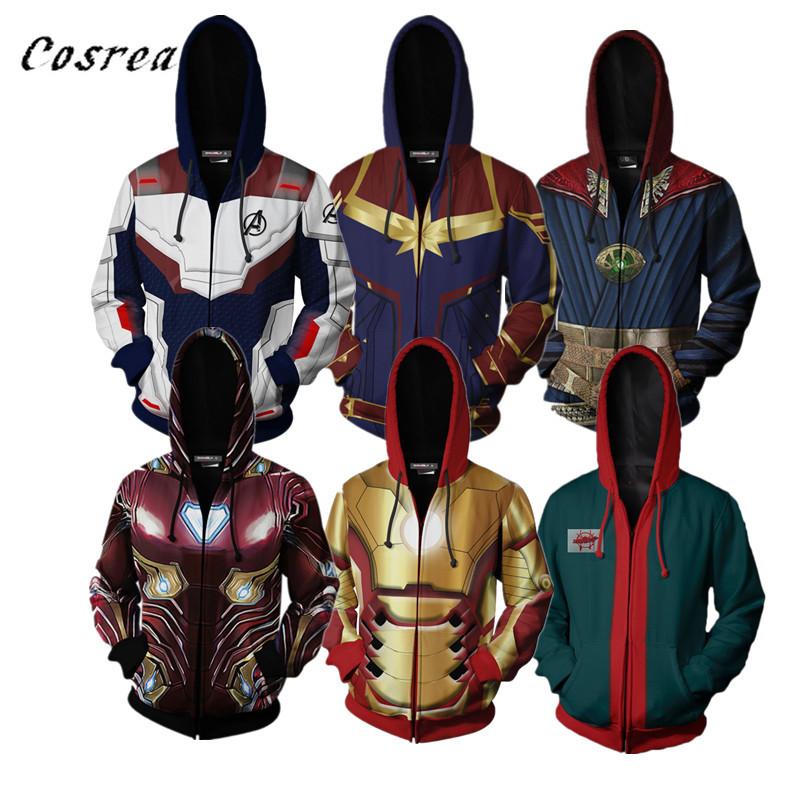 Avengers Endgame Quantum Realm 3D Print Hoodies Sweatshirt Superhero Captain America Doctor Strange Coat Jacket Hoodie Men Women(China)