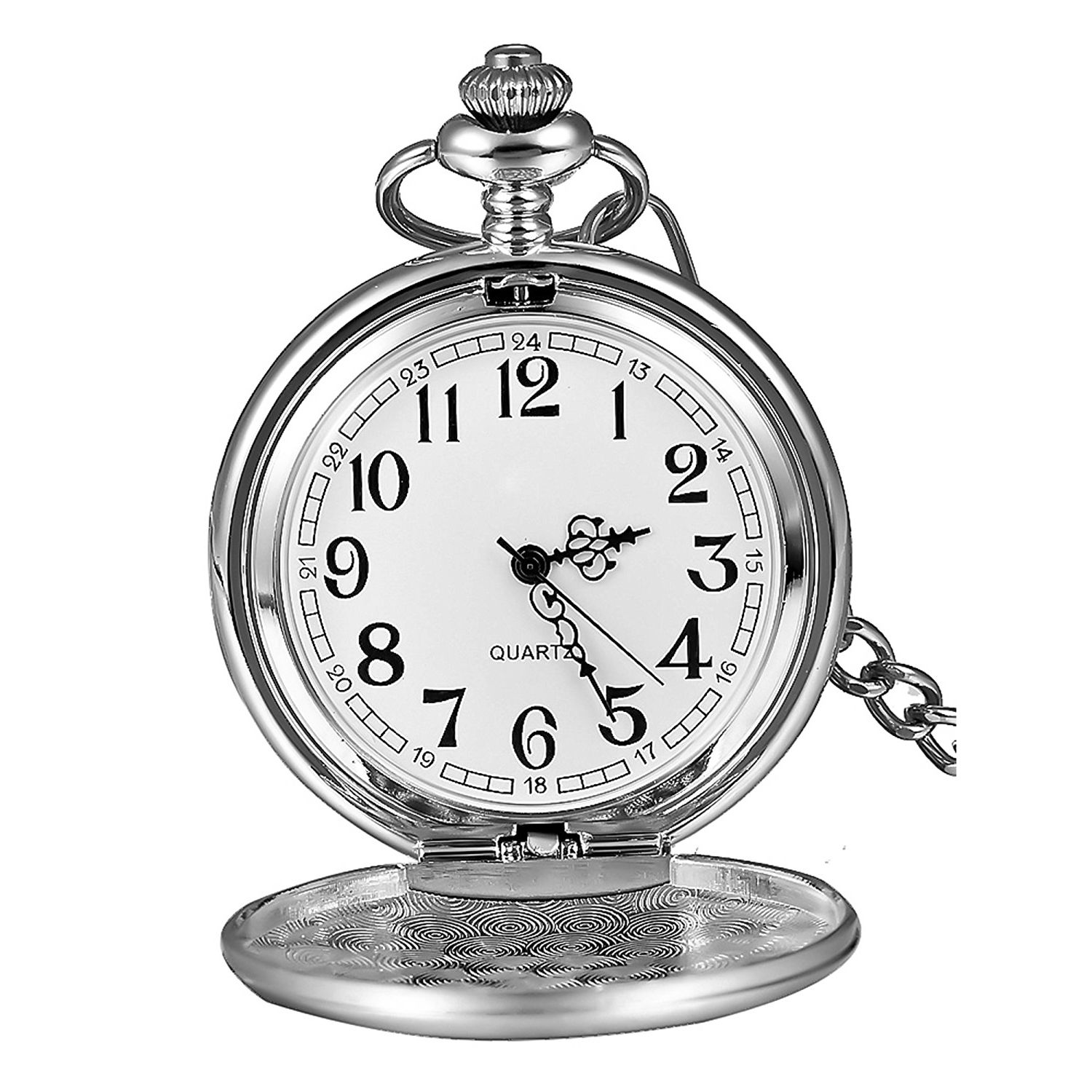 Classic Smooth Vintage Mens Pocket Watch Xmas Gift (Silver)