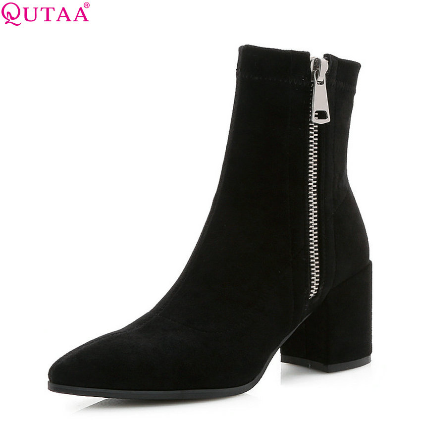 QUTAA 2019 Women Ankle Boots Pointed Toe All Match Platform Square High Heel Winter Boots Women Shoes Women Boots Big Size 34-43 women ankle boots pu super high heel pointed toe boots winter autumn boots warm fur big size square heel ankle boots