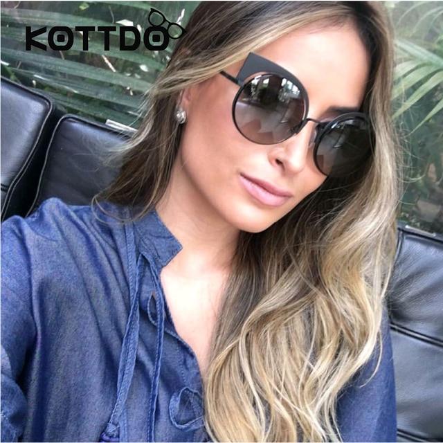 Cat Eye Round Sunglasses Women Brand Designer Sun Glasses For Ladies  Vintage Oculos cateye Mirror Reflective Lens Female UV400 d8292c3e8e