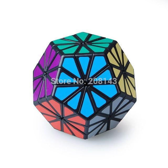 Grandes niños juguete cubo mágico QJ Pyraminx Crystal 12-color crisantemo Dodecahedron Puzzle cubo negro