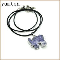 Nature Crystals Alloy Leather Rope Chain Sieraden Elephant Opal Pendant Pandora Charm Men Women Necklace Collana
