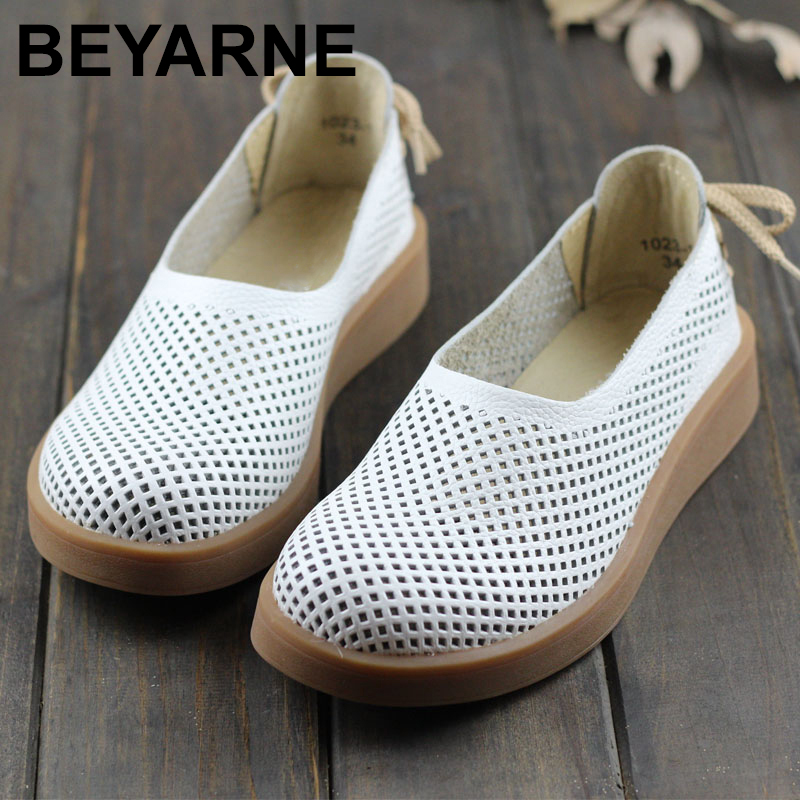 BEYARNE 2019Women s Shoes Hollow out Breathable Summer Shoes Genuine Leather Round toe Slip on Ladies