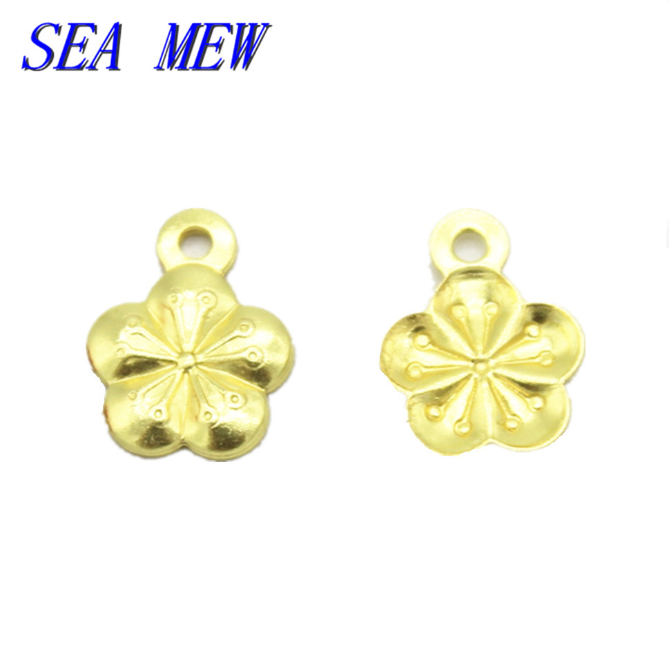 SEA MEW 500 PCS Fashion Metal Copper 7mm Flowers Connectors Charm 5 Colors Plated Pendant For Jewelry Making