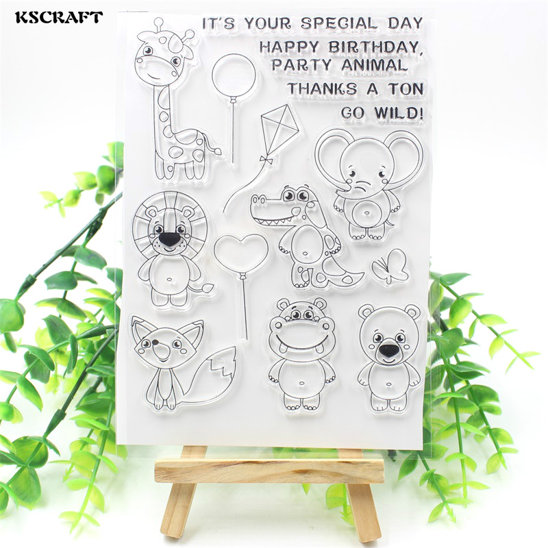 KSCRAFT Wild Animals Transparent Clear Silicone Stamp/Seal for DIY scrapbooking/photo album Decorative clear stamp sheets chicken animals transparent clear silicone stamp seal for diy scrapbooking photo album decorative clear stamp sheets a547