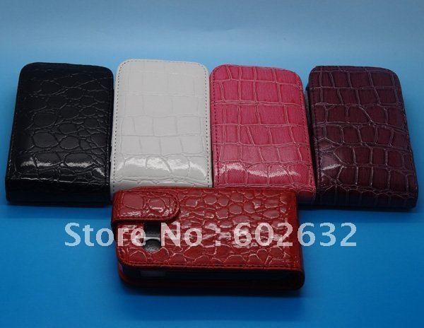 100pcs free shipping Croco style Wallet leather case cover For Samsung Galaxy Y S5360